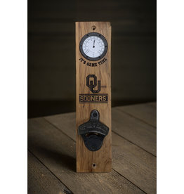 Timeless Etchings OU Wood Wall Mount Thermometer/Bottle Opener