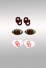 Jardine OU Hearts & Footballs 3pk Earrings