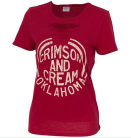 ZooZatz Women's ZooZatz Crimson & Cream Revival Ripped Tee