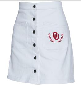 ZooZatz Women's ZooZatz OU White Denim Skirt