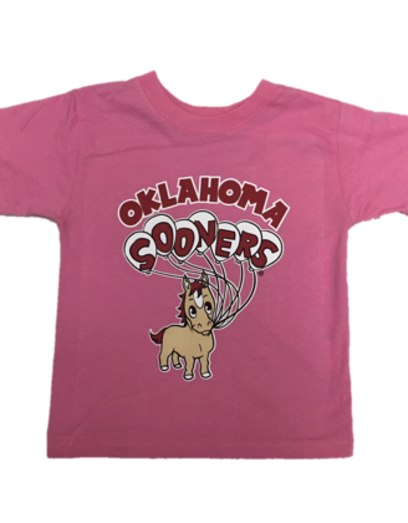 College Kids Toddler Oklahoma Sooners Pony and Balloons Pink Tee