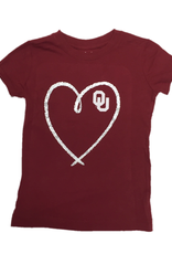 College Kids Youth OU Heart Crimson Tee