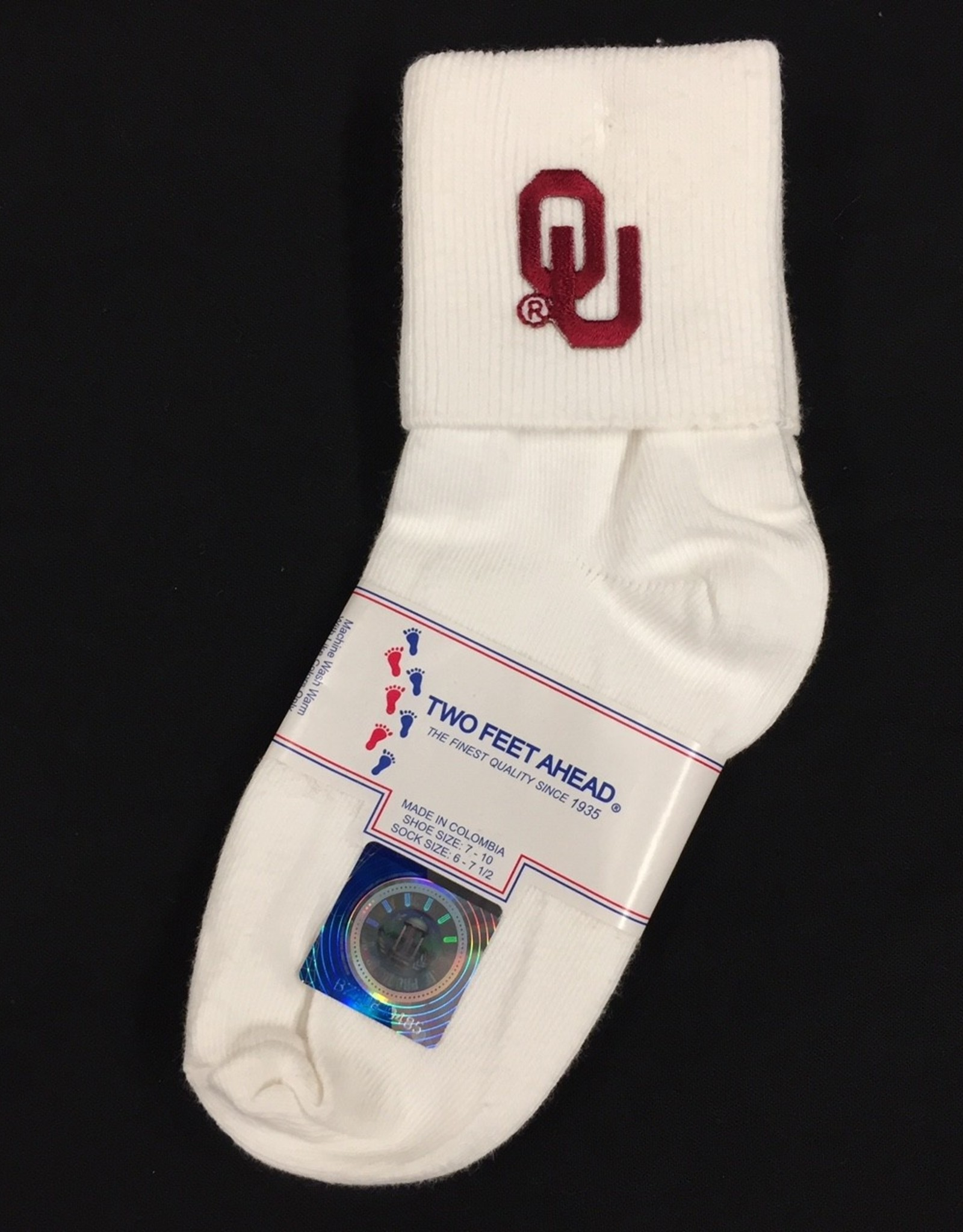 Two Feet Ahead OU White Anklet Sock