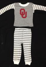 Two Feet Ahead Toddler OU Heather Grey Striped Pajama