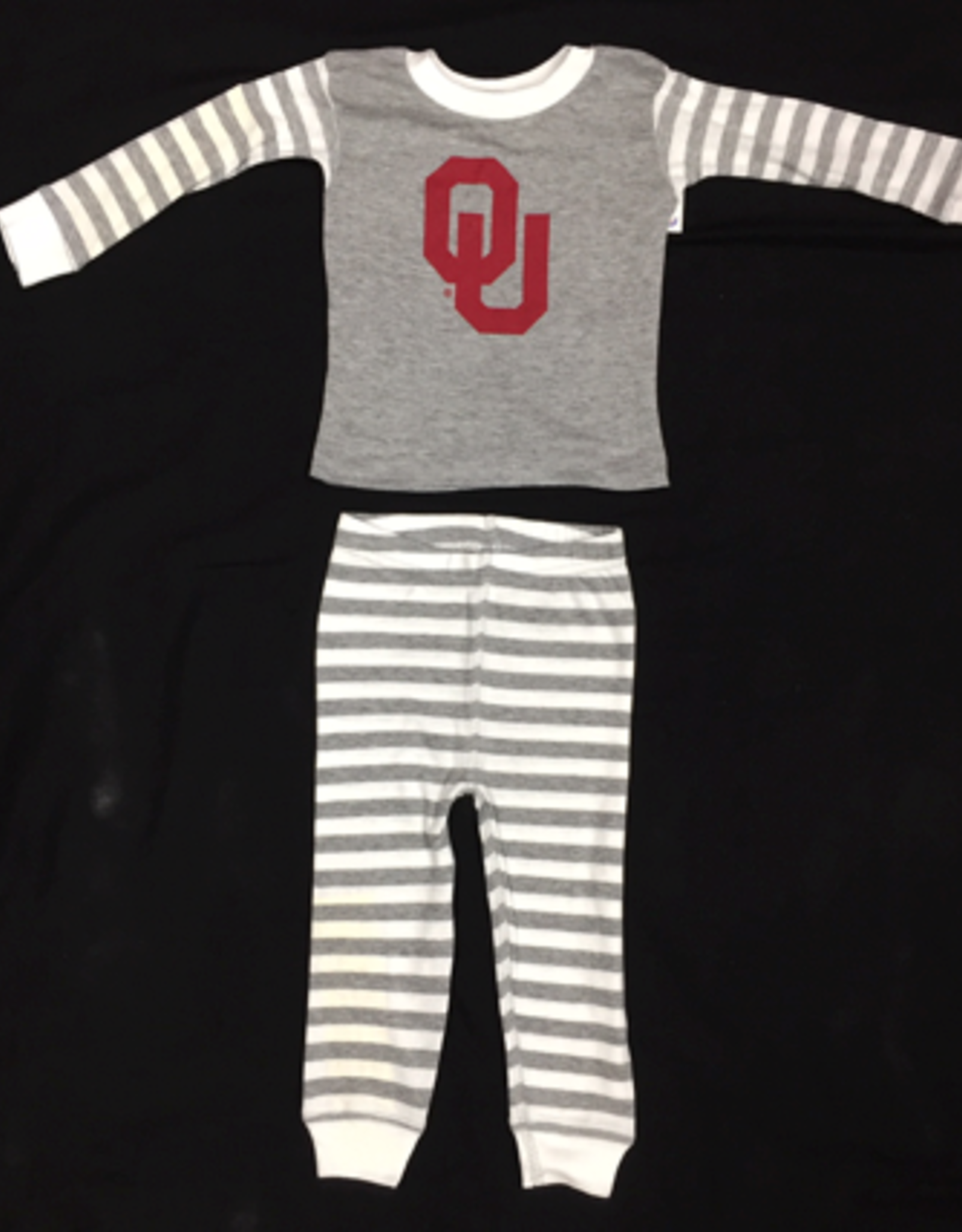 Two Feet Ahead Toddler OU Heather Grey Striped Pajama