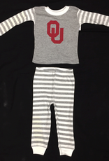 Two Feet Ahead Infant OU Heather Grey Striped Pajama