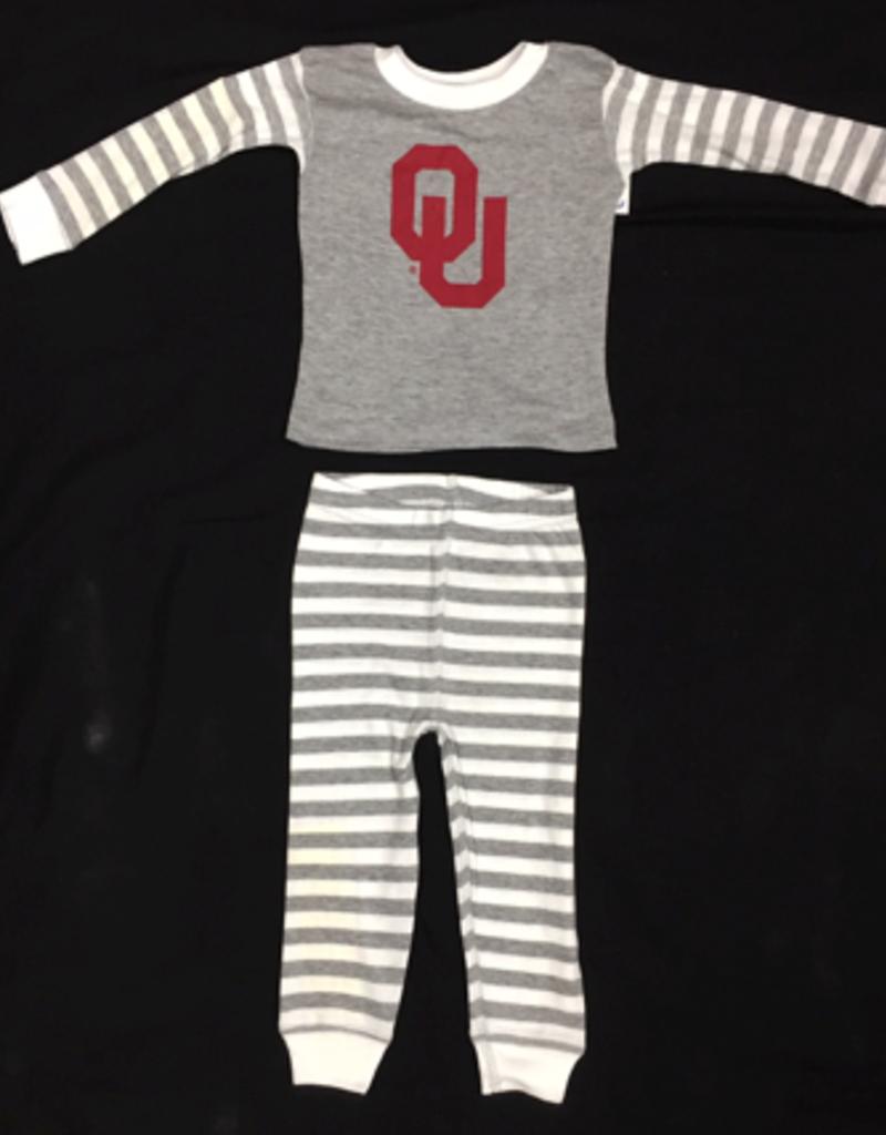 Two Feet Ahead Infant OU Heather Grey Striped Pajama