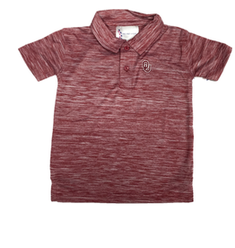 Two Feet Ahead Toddler OU Spacedye Crimson Golf Shirt
