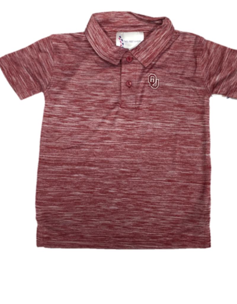 Two Feet Ahead Toddler OU Spacedye Crimson Golf Shirt