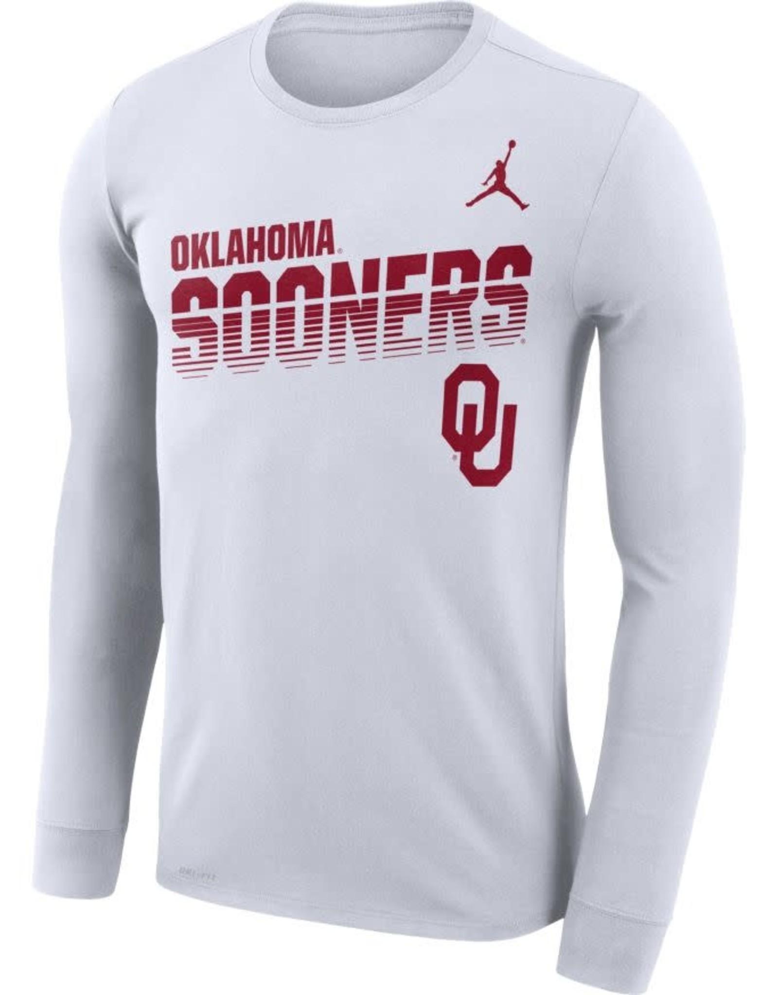Jordan Men's Jordan Oklahoma Sooners White Long-Sleeve Legend Sideline Tee