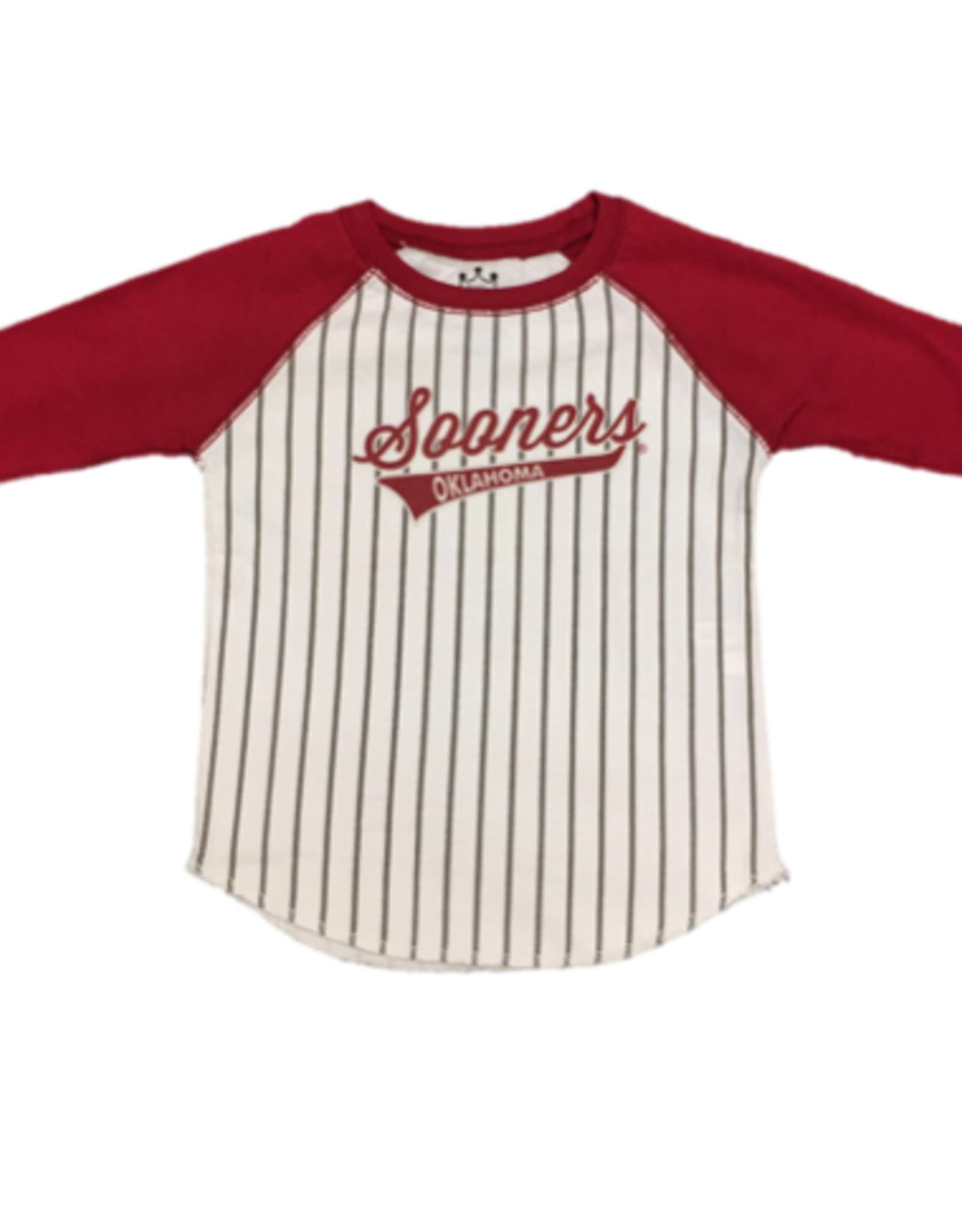 Little King Toddler Sooners Oklahoma 3/4 Sleeve Baseball Tee
