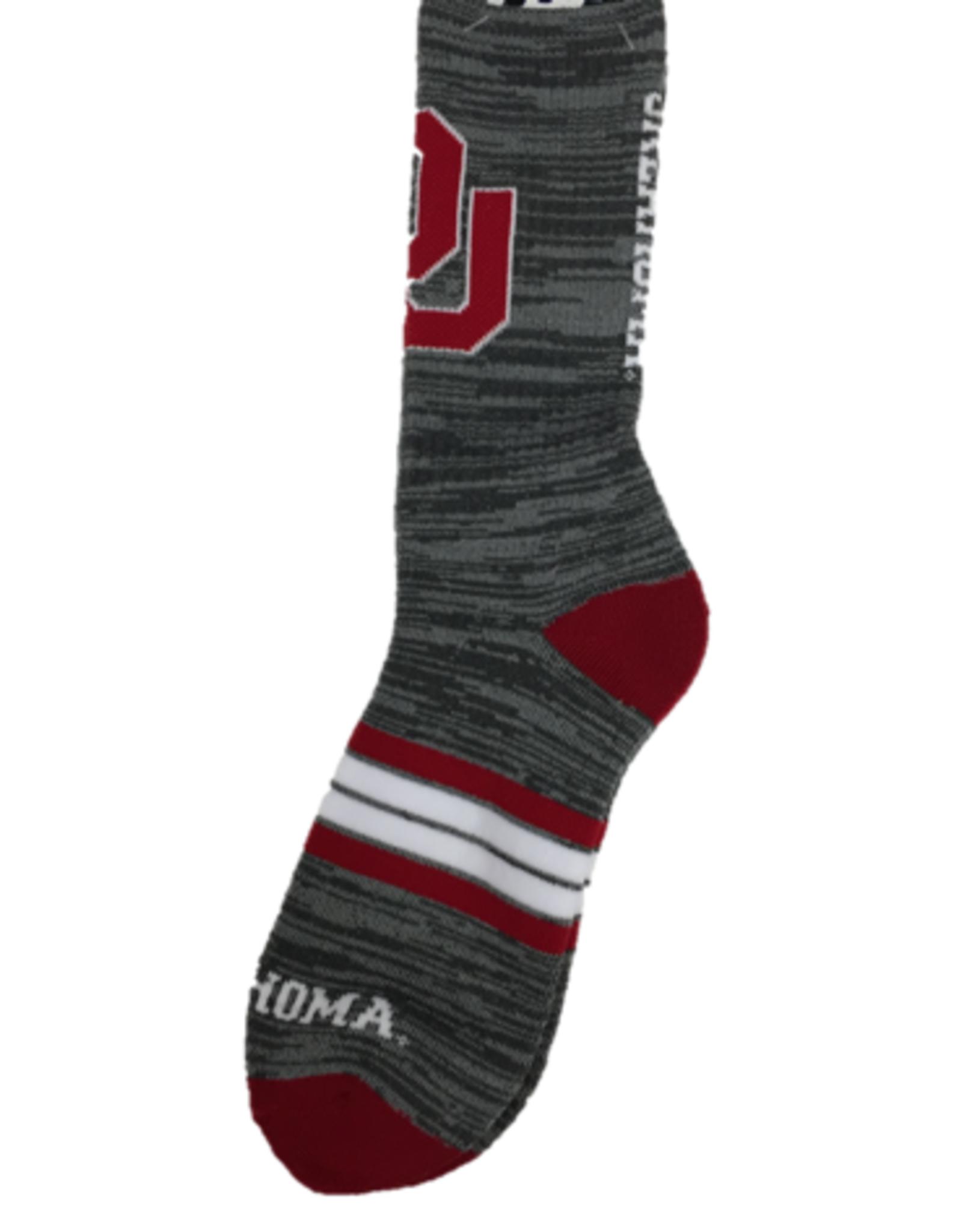 FBF Men's For Bare Feet Quad Oklahoma Gray/Crimson Socks
