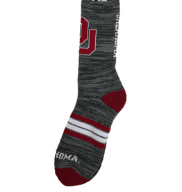 FBF Men's For Bare Feet Quad Oklahoma Gray/Crimson Socks