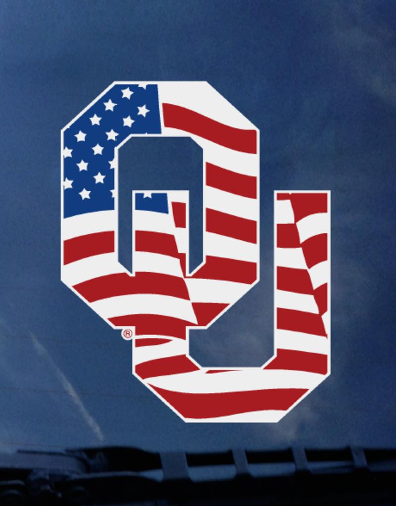 "Color Shock OU Waving Flag Auto Decal 4.7""x3.5"""