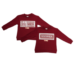 ZooZatz Girls Youth Inverse Boomer/Sooners Sweatshirt