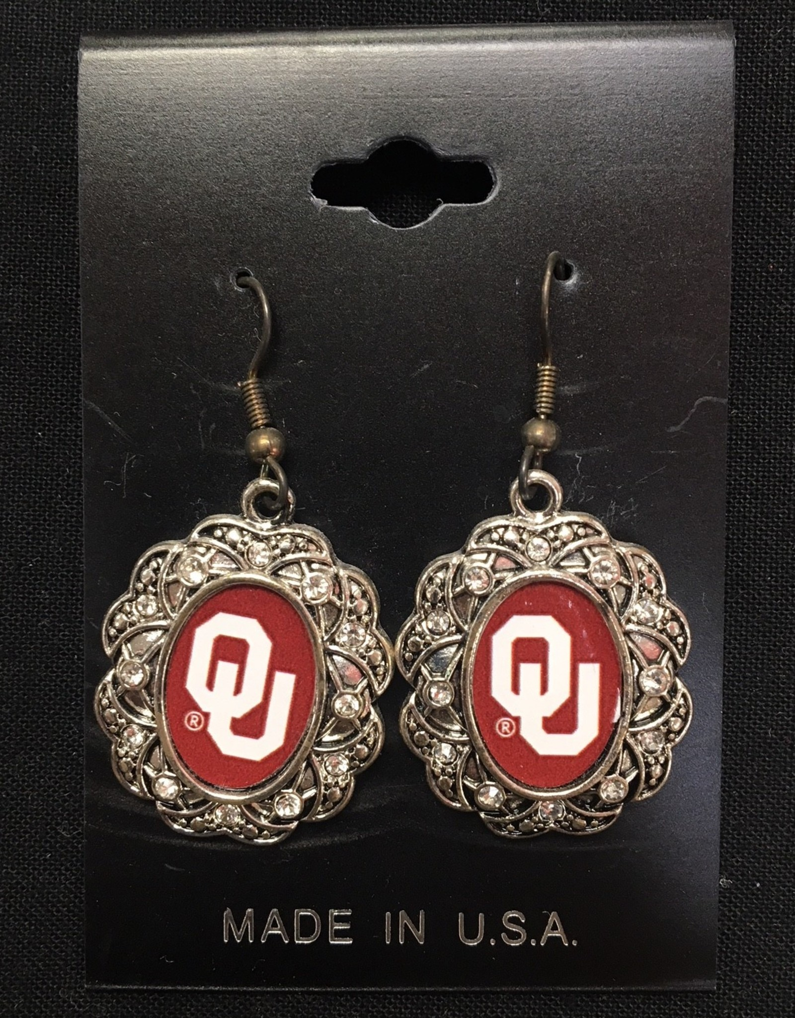 FTH FTH OU Oval Scroll w/ Crystal Earrings