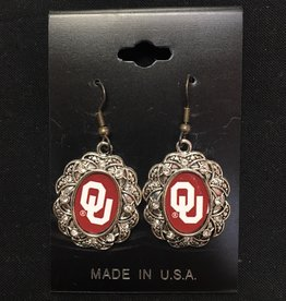 FTH FTH OU Oval Scroll w/ Crystal Earrings