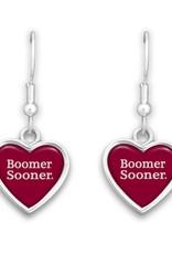 FTH FTH Boomer Sooner Spirit Slogan Heart Earring
