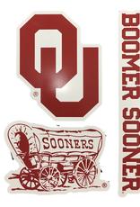 WinCraft OU/Schooner/Boomer Sooner 3pk Decals