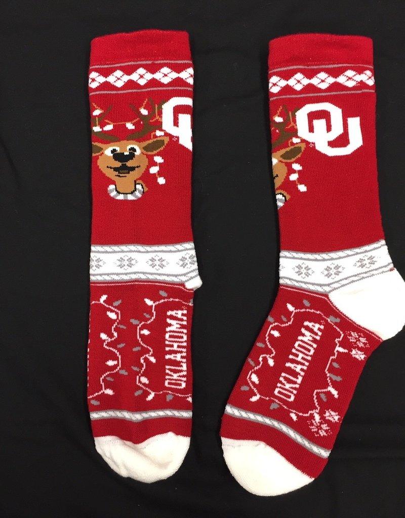 FBF Men's OU Christmas Sock (Shoe Size 10-13)