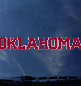 "Color Shock Oklahoma Crimson with White Outline Auto Decal 2.1""x12"""