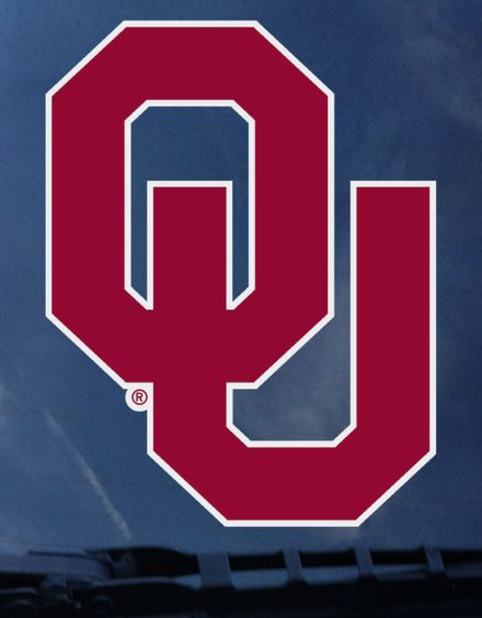 """Color Shock OU Crimson with White Outline Auto Decal 4.7""""x3.5"""""""