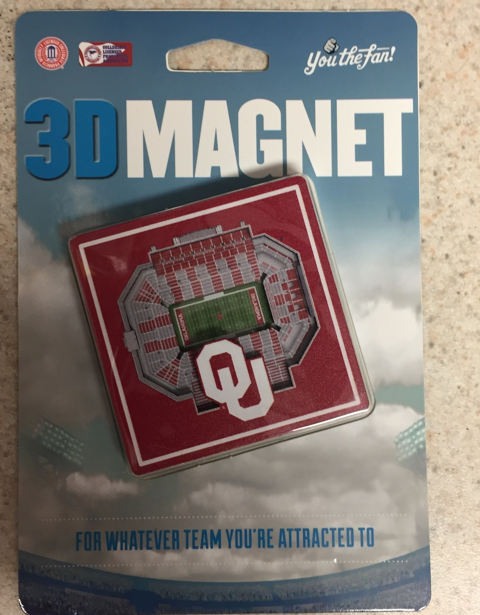 "You The Fan OU Stadium 3D Magnet 2.25""x2.25"""