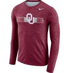 Nike Men's Nike OU Oklahoma Sooners Crimson L/S DriFit Cotton Slub Tee