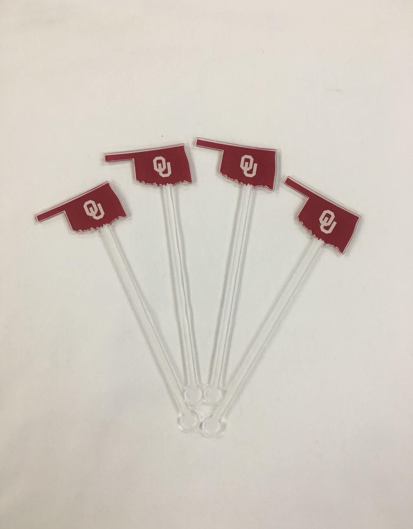 Acrylic Sticks Co. Acrylic Stir Sticks-STATE SHAPE/OU (pkg. or 4)