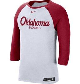 Nike Nike Men's OU Baseball DriFit Cotton 3/4 Sleeve Raglan