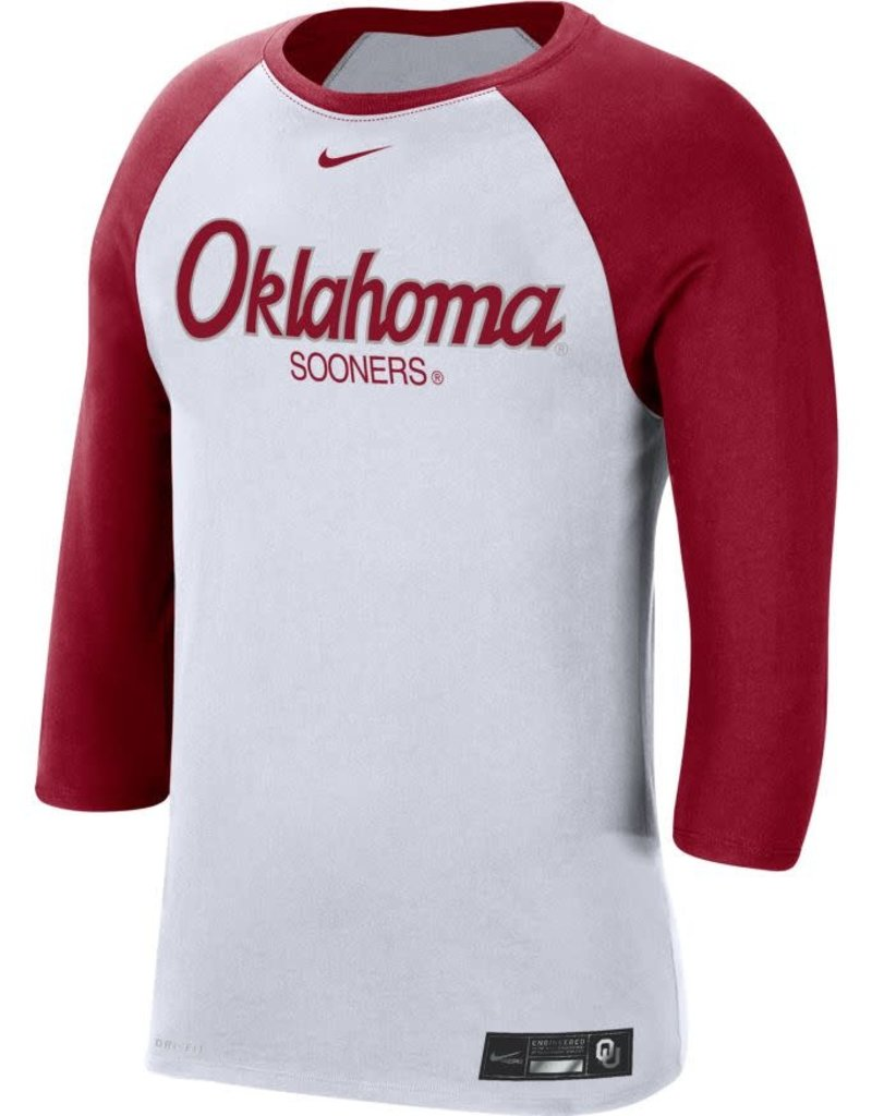 Nike Nike Men's OU Baseball DriFit Cotton 3/4 Sleeve Raglan