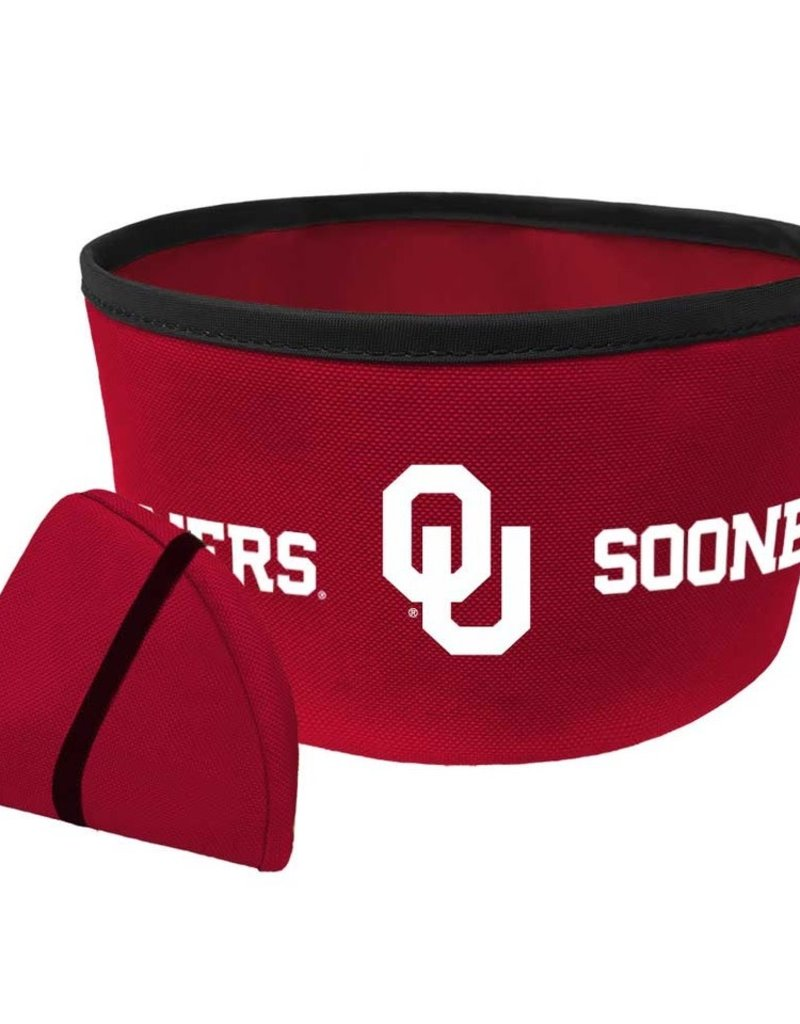 "All Star Dogs Oklahoma Sooners 8"" Collapsible Travel Dog Bowl"
