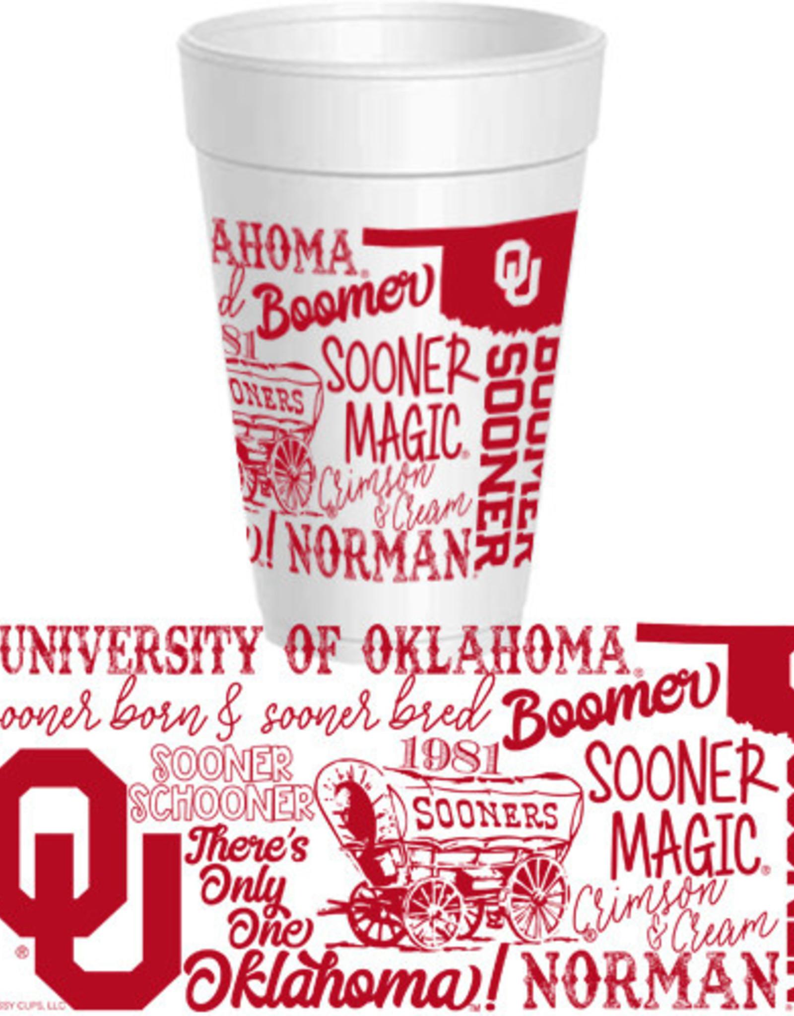Sassy Cups 16oz OU Wrap Design Styrofoam Cup (10 pack)