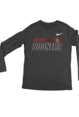 Nike Youth Nike Dri-Fit Legend OU Sooners L/S Char.Hthr Tee