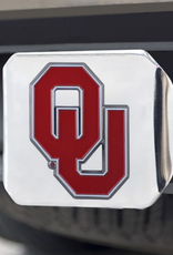 Fanmats OU Crimson Hitch Cover with Chrome Metal