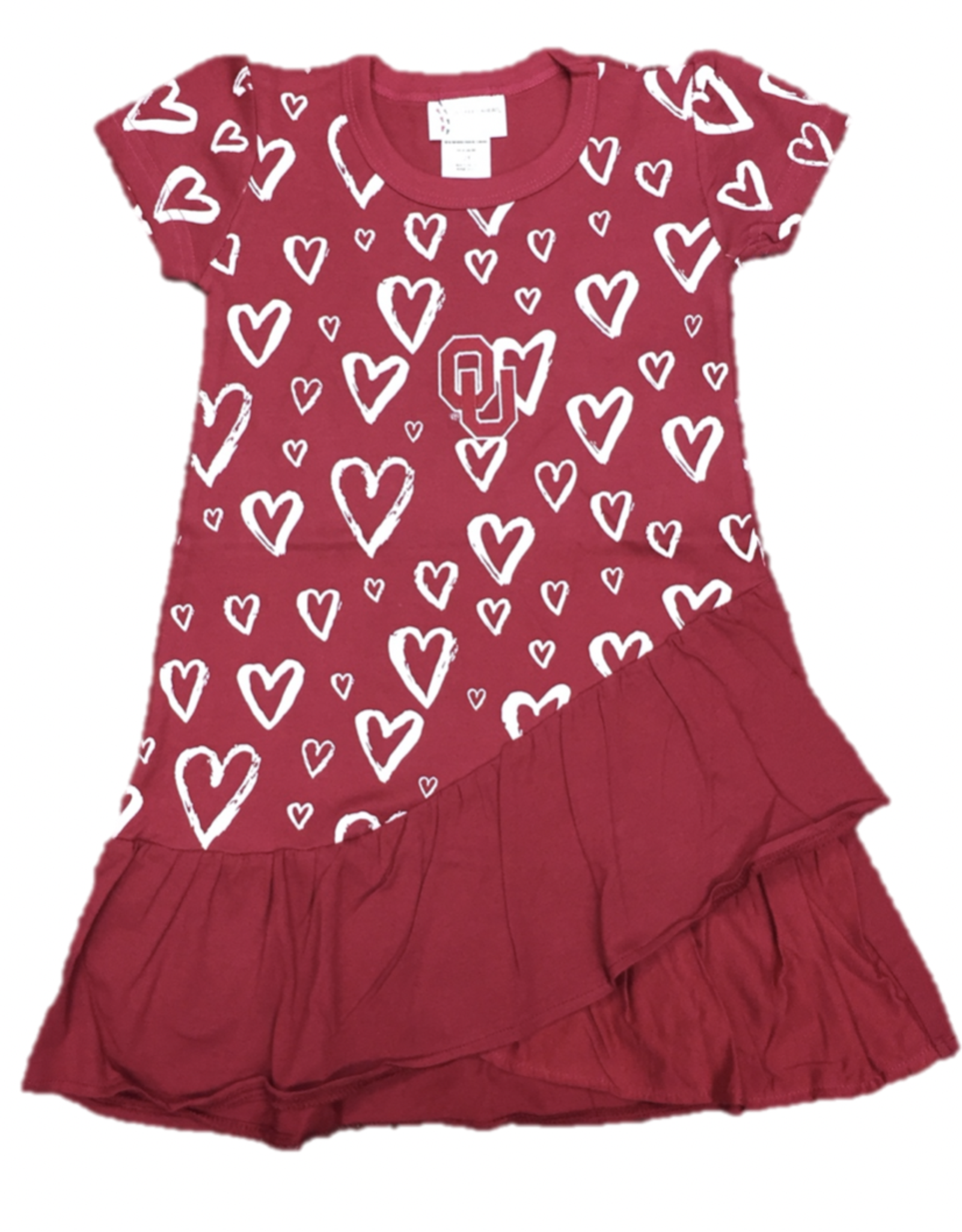 Two Feet Ahead Toddler Hearts OU Dress with Ruffle