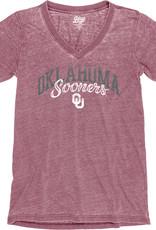 Blue 84 Women's Blue 84 Burnout Washed Crimson OK Sooners V-Neck