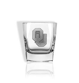 Sparta OU Rocks Glass w/ Pewter Emblem