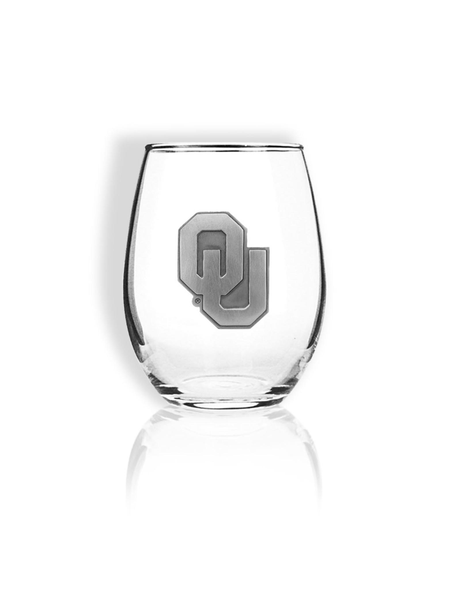 Sparta OU Stemless Wine Glass w/ Pewter Emblem