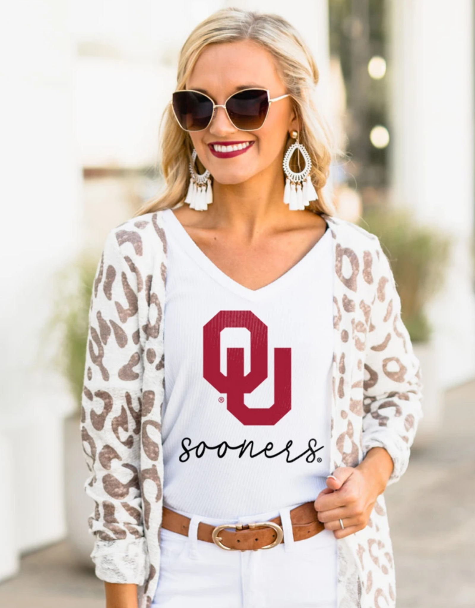 Gameday Couture Gameday Couture Women's OU Easy Does It Ribbed V-Neck