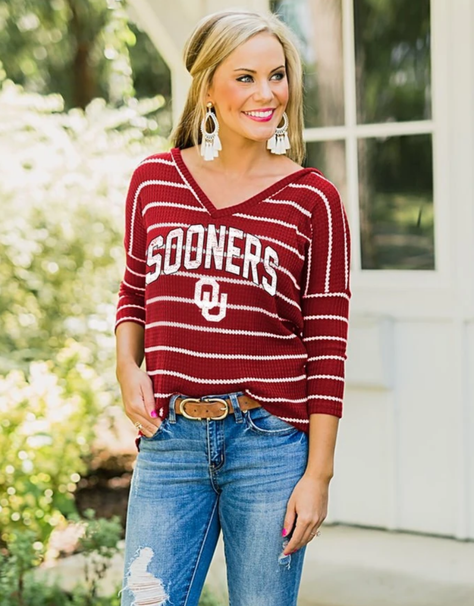 Gameday Couture Women's Gameday Couture OU Sooners Right on the Line 3/4 Sleeve Waffle Knit