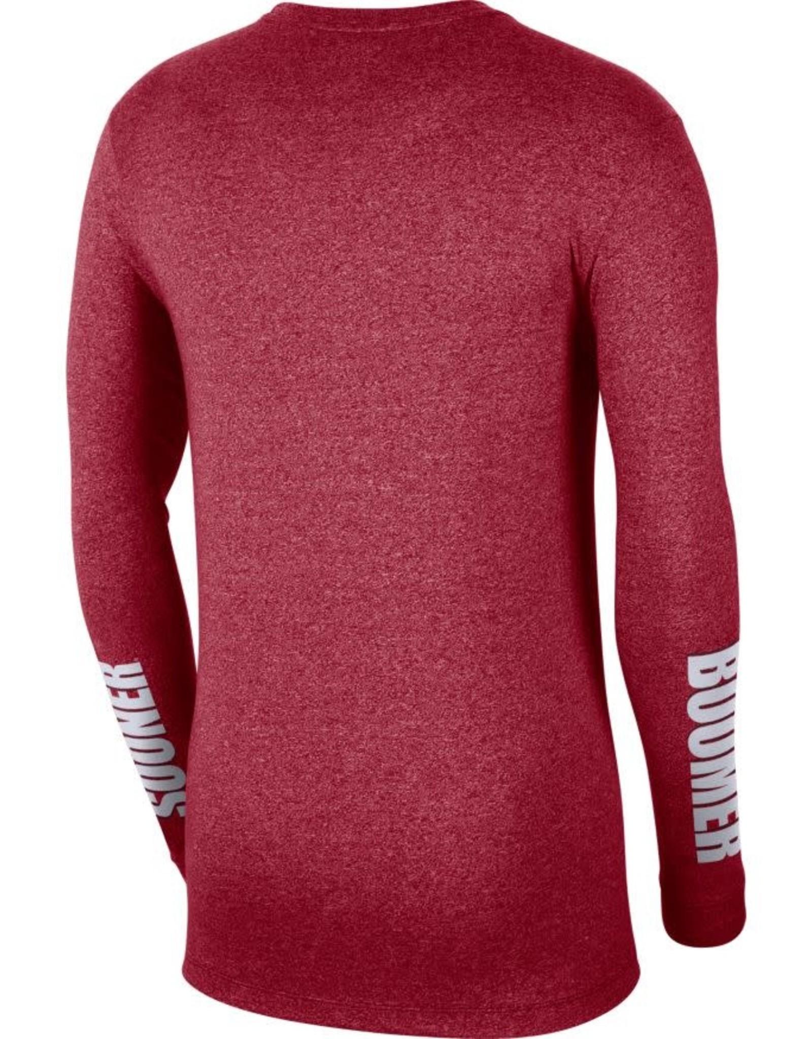 Nike Men's Nike OU Marled L/S Tee with Boomer Sooner Sleeve