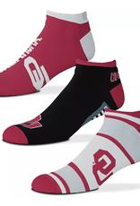 FBF FBF OU Sooners Show Me the Money! 3 Pack Ankle Socks