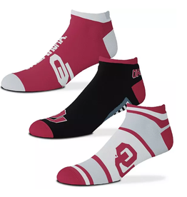 FBF FBF OU Sooners Show Me the Money! 3 Pack Ankle Socks