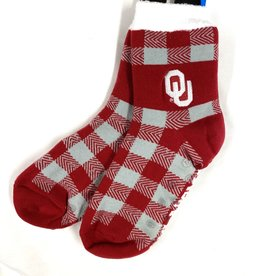FBF FBF OU Buffalo Plaid Thick Sock