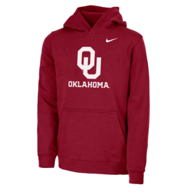 Nike Youth Nike OU Oklahoma Crimson Stadium Club Fleece Hoodie