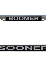 Laser Magic BOOMER SOONER Black Lasered Acrylic on Metal Licence Plate Frame