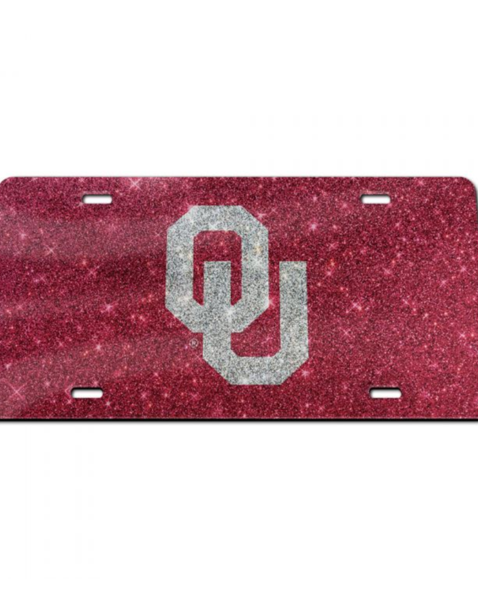 Stockdale OU Silver/Crimson Glitter License Plate