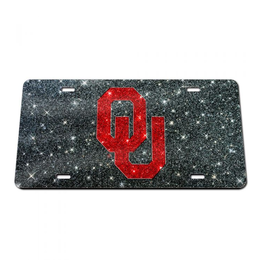 Stockdale OU Crimson/Black Glitter License Plate