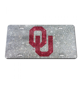 Stockdale OU Crimson/Silver Glitter License Plate